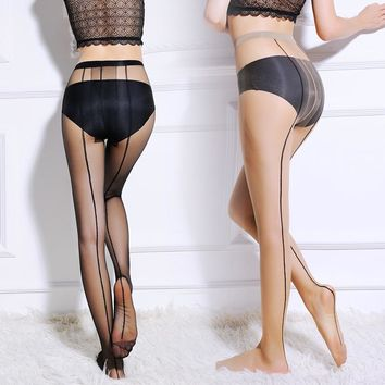 3 Colors.Women's Tights Sexy One Line Design Silk Stockings.Ladies Backside Line Tattoo Pantyhose Female Club Party Hosiery