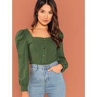 Puff Sleeve Button Up Blouse