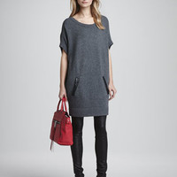 Slouchy Leather-Pocket Dress & Monic Leather Skinny Pants