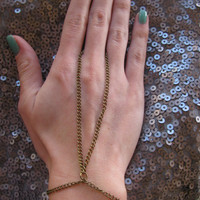 Bronze antique gold hand chain ring by houseofmarissanicole