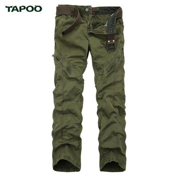 TAPOO 2017 New Mens Brand Clothing Army Green Tactical Pants For Men Zipper Pocket Design Cargo Pants Black Gray 38 36 34