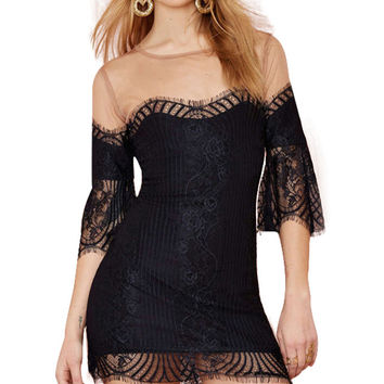 Mesh Lace Bell Half Sleeve Bodycon Mini Dress