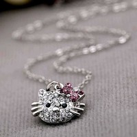 TOMTOSH Small Lovely Hello Kitty Jewel-Encrusted Necklace