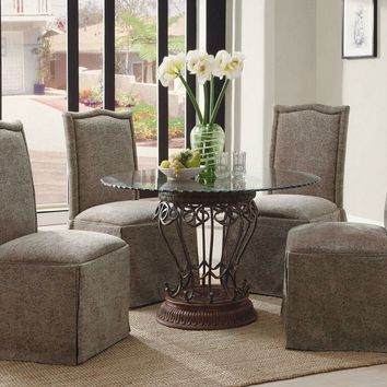 5 pc pedestal dining table set with glass top and parson chairs