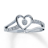 Diamond Promise Ring Round-Cut 10K White Gold