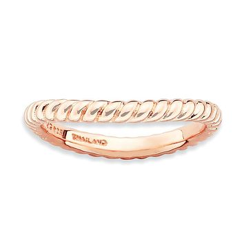 Sterling Silver Stackable Expressions Polished Pink-plate Wave Ring