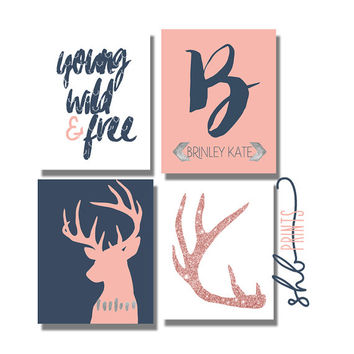 Young Wild & Free Woodland Nursery Printable Art Collection | Coral Navy Nursery Ideas
