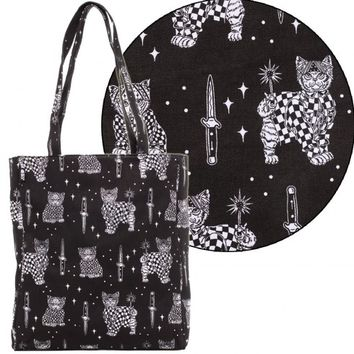 Sourpuss Canvas Tote Bag - Cholo Kitties | Rockabilly l Tattoo