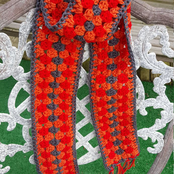 Crochet Scarf, multi color, orange, red, grey, winter scarf, fashion scarf, women scarf, unique scarf, accessory, Christmas gift, fringe