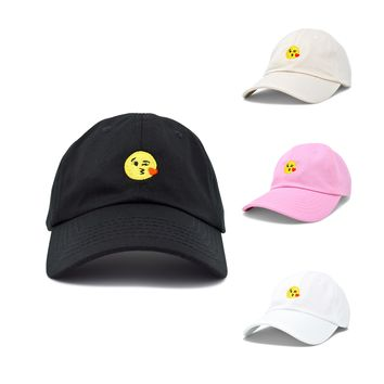 DALIX Kiss Emoji Hat Dad Hats Cute Baseball Cap For Women Black White Pink Beige