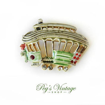 Gold tone Enamel Trolley Car Brooch Pin, Cable Car Pin, Vintage Costume Jewelry