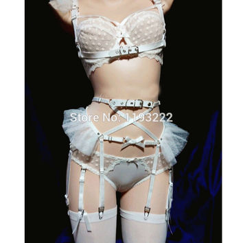 Cosplay Lolita Kawaii Handmade Sexy Harajuku Leather Elastic Garter Belts Chiffon Mesh Waist Garters Harness  for Dress Costume