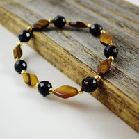 Gold stretch bracelet, Stretch Gemstone Bracelet, Stackable bracelet, stretch bead bracelet, Tiger Eye Bracelet, Black onyx jewelry