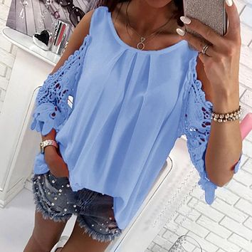 Women Blouse Shirt 2018 Summer Beach Casual Sexy Cold Shoulder Long Sleeves Hollow Out Ladies Mujer Tops Tee