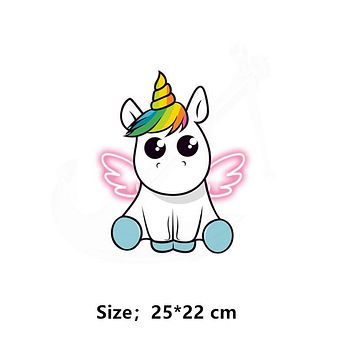 Hot Dabbing Wings Unicorn animal patches child T-shirt Dresses Sweater thermal transfer Patch for clothing By Household Irons