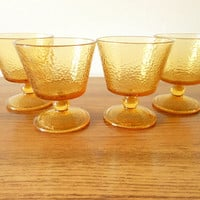 Amber Glass Sherbet Cups, Amber Glass Champagne Glasses, 70's Dessert Dishes, Pedestal Custard Cups, Ice Cream Dishes, Vintage Barware
