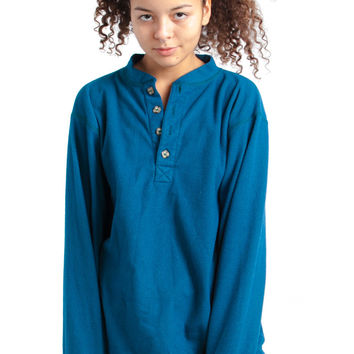 Vintage 80's Teal It to the Judge Fleece Pullover Henley - One Size Fits Many