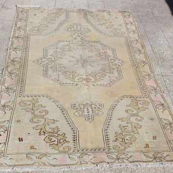 Vintage Turkey Oushak Rug With Medallion  7'1'' x 4'3'' ft, 85 x 51 inches, 217 x 130cm Free Shipping