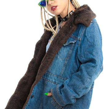 Vintage 90's Jean Dream Faux-Fur Trim Coat - One Size Fits Many