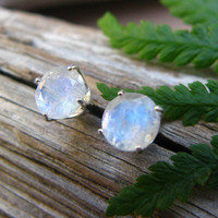 Blue Moonstone Stud Earrings, Sterling Silver with Genuine Gemstones, 6mm - Free Gift Wrapping