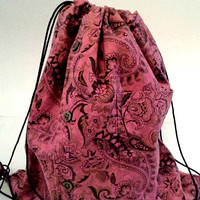 Paisley Print Shirt Lined Upcycled Drawstring Backpack