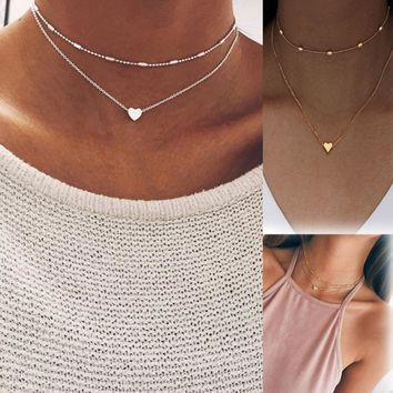 LNRRABC Fashion Simple Women Pendant Necklace Double layers Heart love Street Shoot Delicate Choker Jewelry