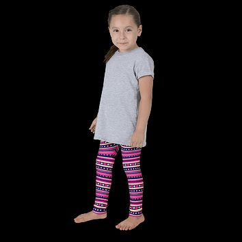 Pink Aztec Striped Kid's leggings
