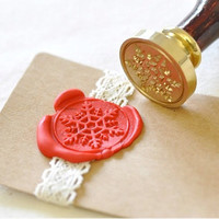 Snowflake Gold Plated Wax Seal Stamp x 1