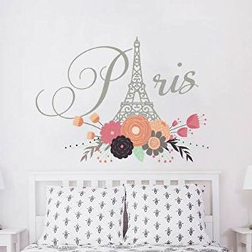 "Paris Wall Decals Eiffel Tower Flowers City Theme France Trendy Colorful Vinyl Decals Stickers Floral Decor for Girls Bedroom EN50 (22"" Tall x 30"" Wide)"