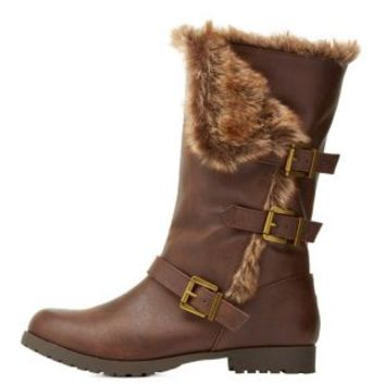 Brown Faux Fur-Trim Belted Mid-Calf Boots by Charlotte Russe