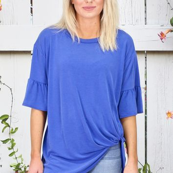 Get Twisted Ruffle Sleeves Modal Top {Royal Blue}