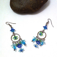 Blue and green flower springtime chandelier earrings, floral earrings, gifts for her