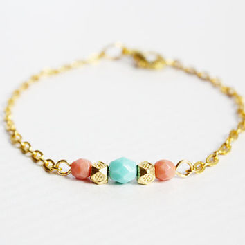 mint coral and gold beaded bracelet  delicate minimal by PetiteCo