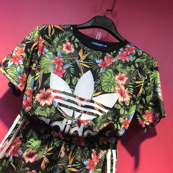 "shosouvenir : ""Adidas"" Fashion Casual Multicolor Clover Letter Floral Print Short Sleeve Sweater Set Two-Piece Sportswear"