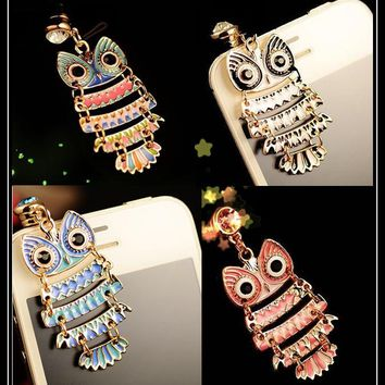 Cute Colorful Painting Oil Owl Anti Dust Plug Cell Phone Accessories 3.5mm Earphone Dust Plug Dachshund For Iphone For Samsung