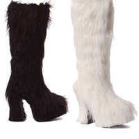 Shaggy Faux Fur Knee High Boots with Chunky Heel