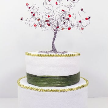 Fall Wedding Cake Topper Wire Tree Sculpture in Autumn Colors