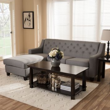Baxton Studio Arcadia Grey Fabric Upholstered Button-Tufted 2-Piece Sectional Sofa Set of 1