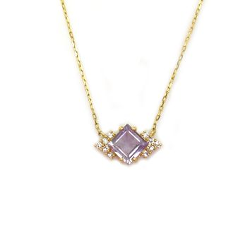 14kt Gold Lilac Quartz & Diamond Aphrodite Shield Pendant