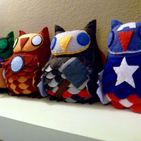 Avengers Inspired Owl Plush Set--Pick Any Three