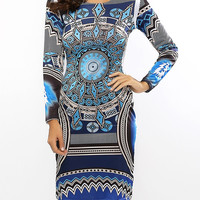 Tribal Print Long Sleeves Sheath Dress