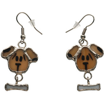 Stained Glass Dog Earrings