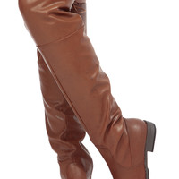 Chestnut Faux Leather Knee High Horse Back Riding Boots