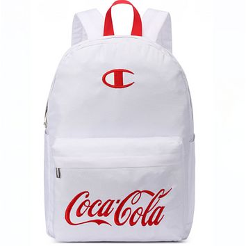 Champion & Coca Cola Fashion New Embroidery Logo Letter Print Bag Travel Backpack Bag White