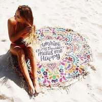 Cotton Blend Printed Round Beach Towel With Tassels