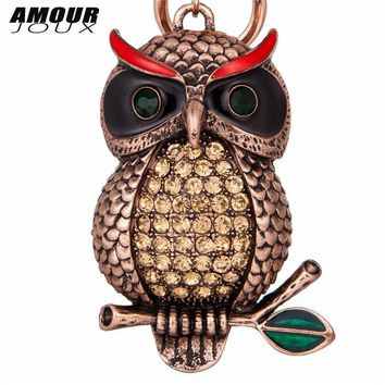 AMOURJOUX Vintage Cool Owl Antique Gold Color Pendant Key Chains For Women Men Animal Charms Keyrings Car Keychain Key Chain