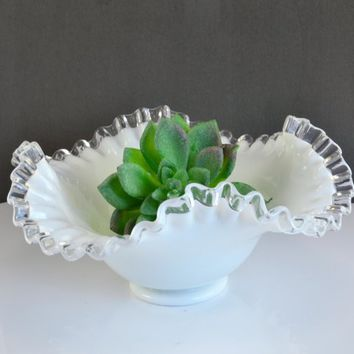 Fenton Silvercrest Bowl - Vintage Dish , Crimped Edge 8 1/4 Inch Diameter, Wedding Holiday Table