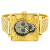 Skull Face Designer Men's Square Watch with Custom Fully Iced Out Gold Finish Band
