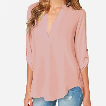 Pink V-Neck Half Sleeve Blouse