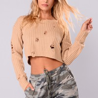 Melani Cropped Sweater - Taupe